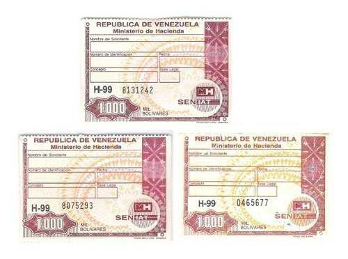 Timbres Fiscales De 1.000 Bolívares Series Diferentes