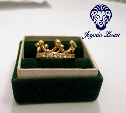 Anillo En Forma De Corona Con Baño De Oro Plata Ley 950