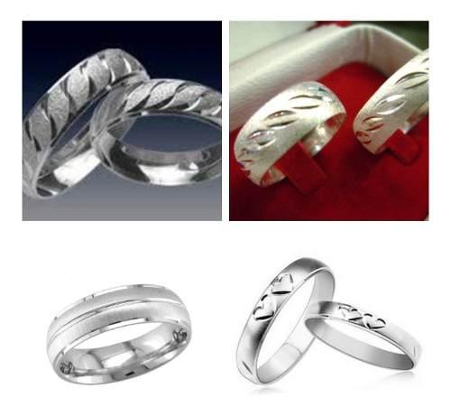 Anillos De Matrimonio En Plata 950 Y Baño De Oro Blanco 18k