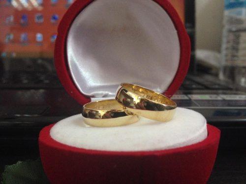 Aros De Matrimonio En Plata Ley 925 Con Baño De Oro