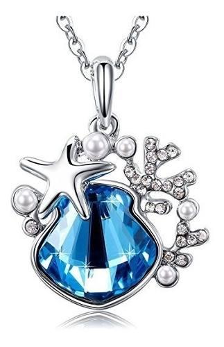 Cadena Collar Gota Azul Cristal Swarovski