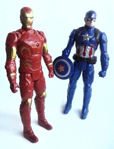 Juego De 2 Muñecos De Iron Man Capitan America Juguete