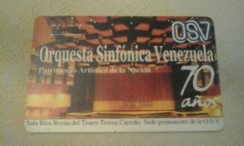 Sg2 Tarjeta Cantv Orquesta Sinfonica Venezuela 70 Años.