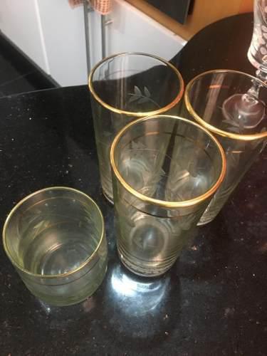Vasos Cristal Bohemia Con Borde De Oro