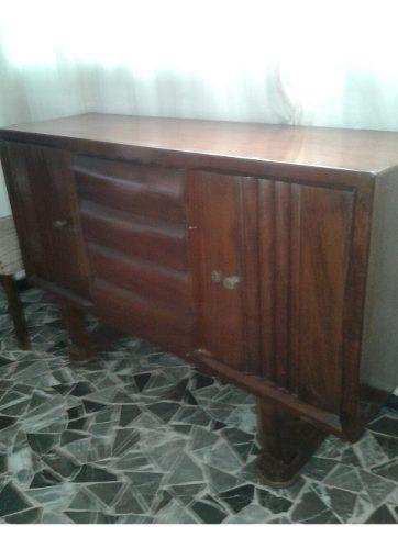 Mueble Antiguo De Sala En Madera Fina 1950.