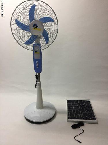 Ventilador Recargable Con Panel Solar Y Luz