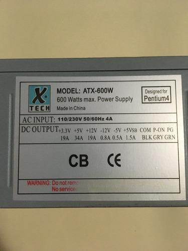 Fuente De Poder Atx 600w, Marca Tech, 1 - Para Repuesto