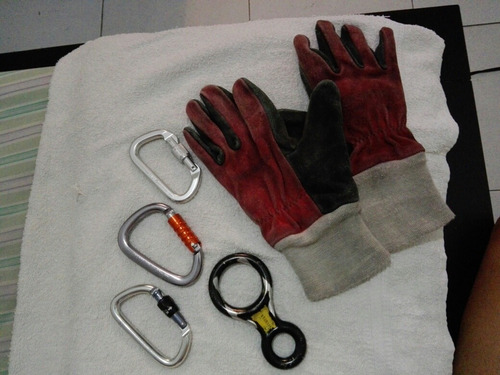 Kit Mosqueton Petzl Smc Cmc Rescue Descendedor 8 Y Guantes.