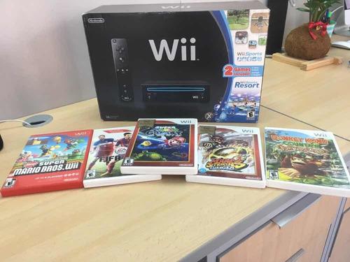 Wii Con 5 Juegos Originales En Su Caja