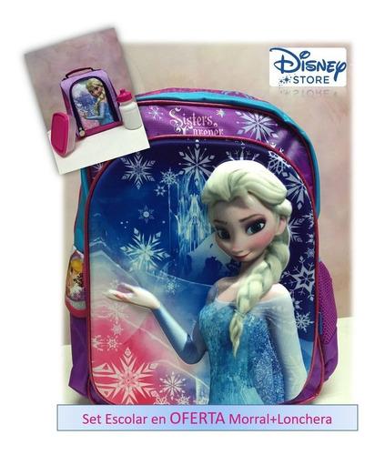Morral Mochila Escolar 3d + Lonchera Frozen Disney Original