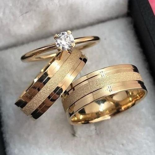 Anillos De Compromiso, Matrimonio En Plata Y Baño De Oro