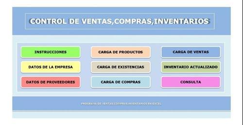 Plantilla De Control De Ventas, Compras E Inventarios En Exc