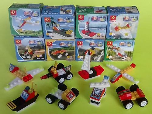 Juego De Carritos Legos Avión Camión Tractor Armables