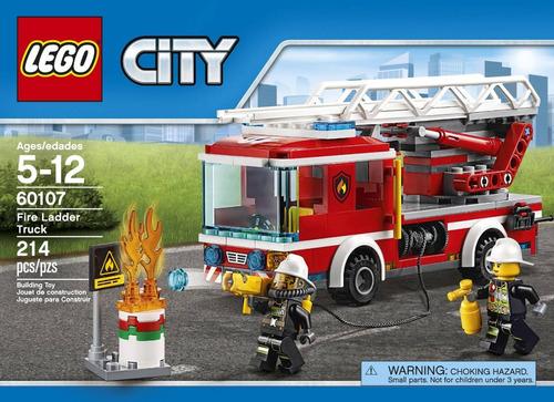 Lego City  Camión De Bomberos Con Escalera 214 Pzs