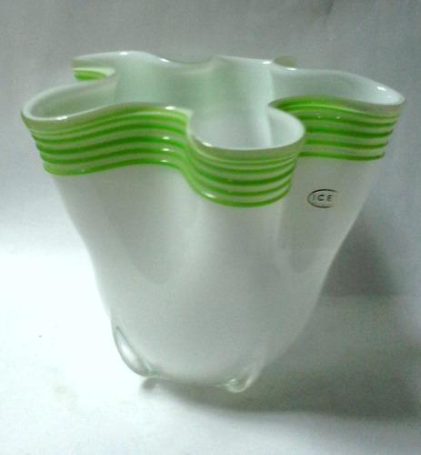 Pañuelo Cristal Icet Arte Murano Blanco Ondas Verdes