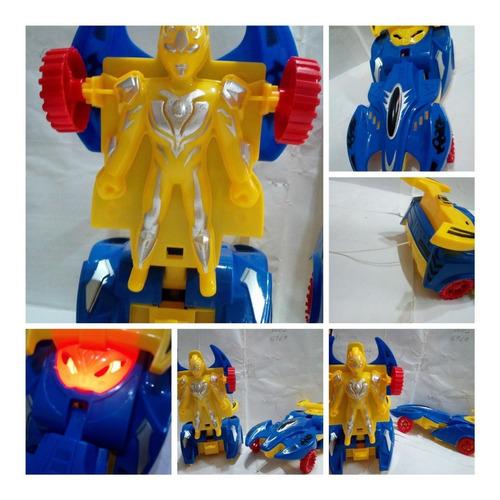 Tres Transformers Carros Movimiento Luz 18cm Juguete Carrito