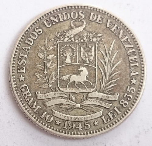 Agradable Moneda De Plata De 2 Bolivares Del Año