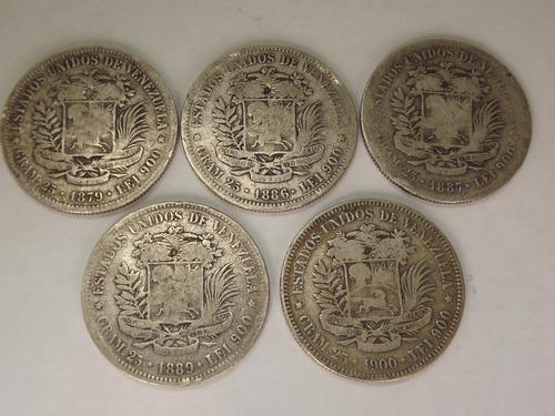 Colección De 19 Monedas De Plata. Fuerte 5 Bs Bolívares.