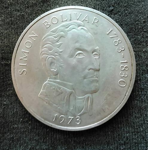 Enorme Moneda De Plata Panama. 20 Balboas. Simon Bolivar