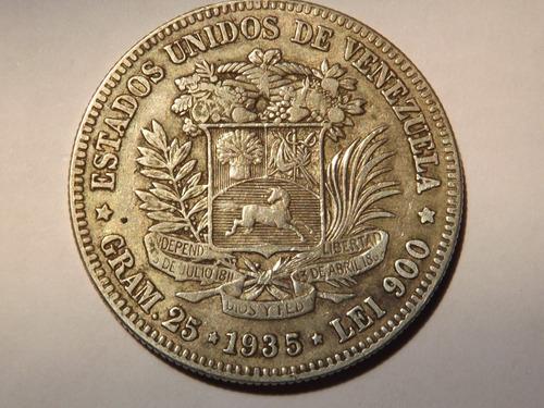 Excelente Moneda De Plata. Fuerte 5 Bolívares. Año