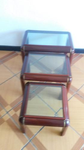 Juego De 3 Mesas De Madera Con Vidrio