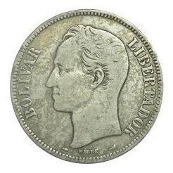 Moneda De Plata 5 Bolivares De El Año  Ley 900