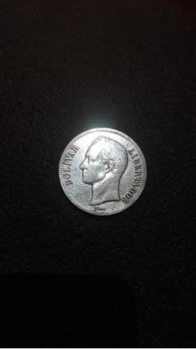 Moneda De Plata De 5 Bolivares Año gram Lei 900