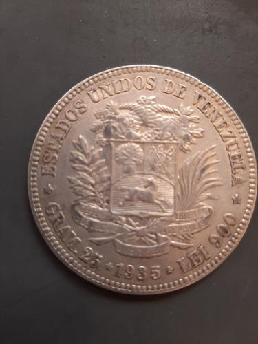 Moneda De Plata De Los Estados Unidos De Venezuela 25 Grms