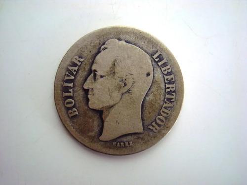 Moneda De Plata Fuerte Año  Estados Unidos De Venezuela