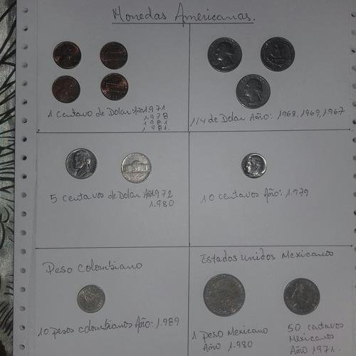 Monedas Americanas De Diferentes Años. Monedas Mexicanas.