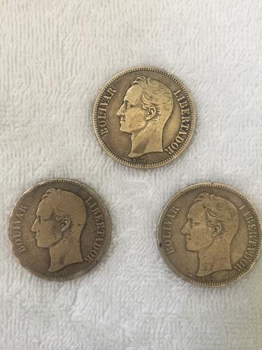 Monedas De 5 Bolívares En Plata.