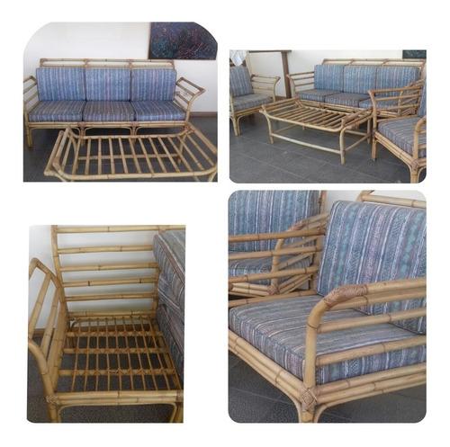 Sala De Bambu Rattan Sofa 3 Puestos Dos Butacas Y Mesa