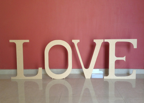 Love 170 X 53 Cms Mdf Crudo 9mm Decoración Boda Candy Bar