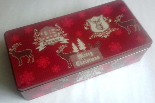 Navidad Juego 2 Tazas Porcelana Con Platos Caja De Lata Roja