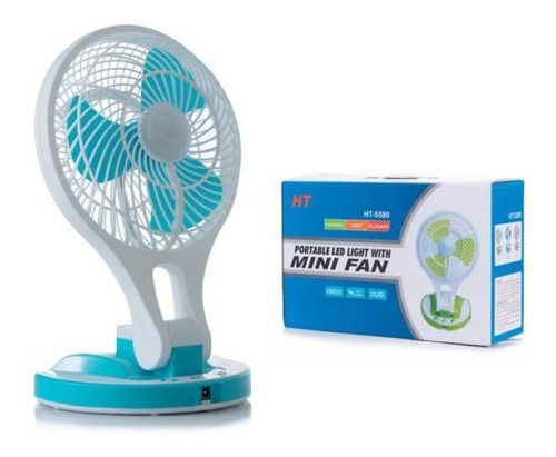 Ventilador Recargable Con Luz Led Adaptable Pared Mesa 2 Vel