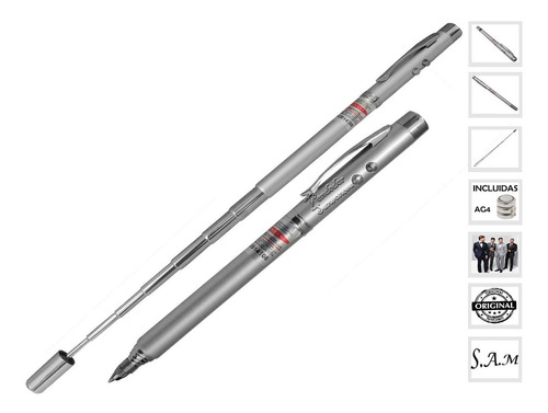 Boligrafo Laser Extensible Linterna Led Iman + Pilas 5 En 1
