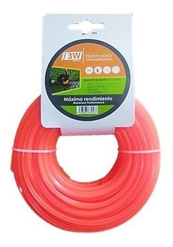 Nylon Para Desmalezadora Cuadrado 3.3mm 15 Mts Naranja