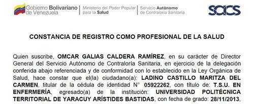 Registro Como Profesional De La Salud (medico
