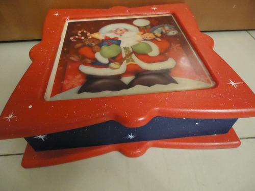 Adorno / Cofre / Joyero De Madera De Navidad De Santa Claus