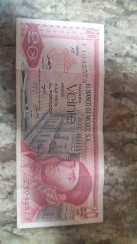 Billete Antiguo 20 Pesos De Mexico 18 Julio 1973 Serie Af