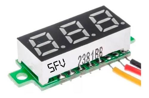 Mini Voltimetro Digital Dc v 3 Dígitos 3 Cables