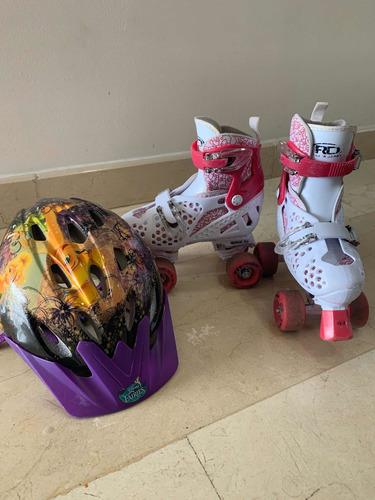 Patines Roller Derby De 4 Ruedas Para Niñas (ajus) Casco