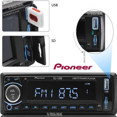 Reproductor Pioneer Bluetooth Usb Aux Sd Radio Control Nuevo