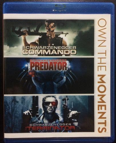 Terminator, Depredador, Comando. Blu Ray.original