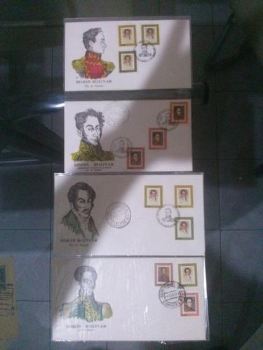 Sobres De Primer Día De Emisión Simón Bolívar