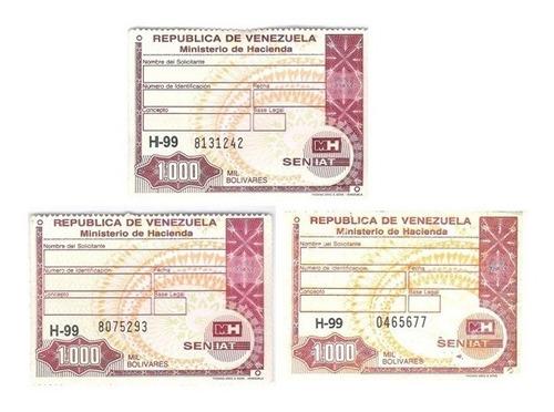 Timbres Fiscales De  Bolívares Series Diferentes