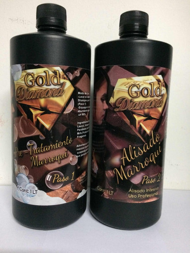 Alisado Marroqui Gold Diamond 2 Pasos 1 Litro