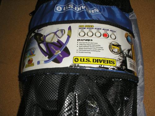 Conjunto De Snorkel Us Divers. Careta, Snorkel Y Chapaletas