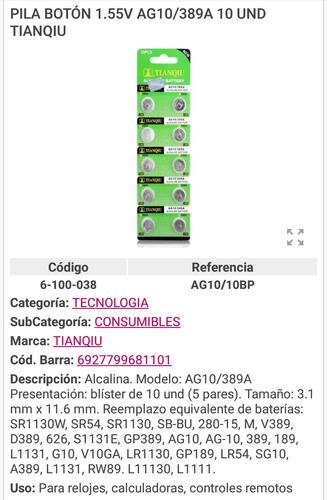 Pila Boton Bateria Reloj Aga 1.55v Calculadora Contro