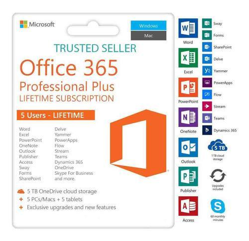 Office 365/2016/2019 / 5 Pc / Mac / Tables + 5tb Onedrive